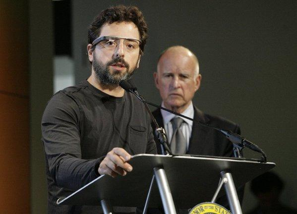 Google co-founder Sergey Brin with California Gov. Jerry Brown in September.