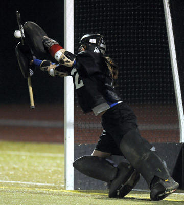 Southern Lehigh goalie #22 Katelyn Ambrose stops a shot taken by Wyoming Seminary during the shoot out in the first round field hockey state playoffs held at Whitehall High School on Tuesday.