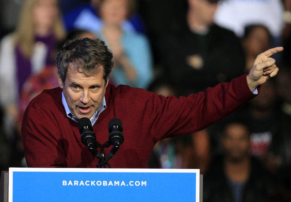 Sen. Sherrod Brown (D-Ohio) speaks at a campaign event for President Obama at Nationwide Arena in Ohio.
