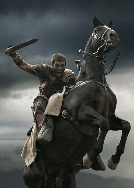 "Liam McIntyre as Spartacus in a promo photo for ""Spartacus: War of the Damned."""