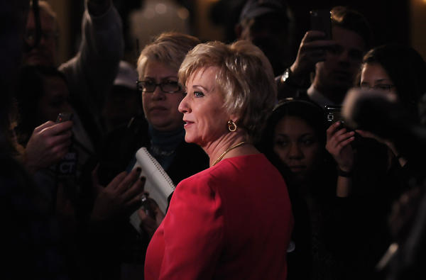 Linda McMahon stops to talk with reporters and supporters after her concession speech after losing to Congressman Chris Murphy for the U.S. Senate seat vacated by Senator Joseph Lieberman.