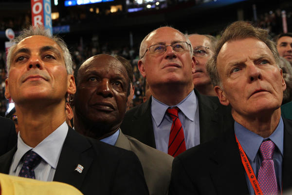 Chicago Mayor Rahm Emanuel, Secretary of State Jesse White, Gov. Pat Quinn and House Speaker Michael Madigan, at the Democratic National Convention in September.