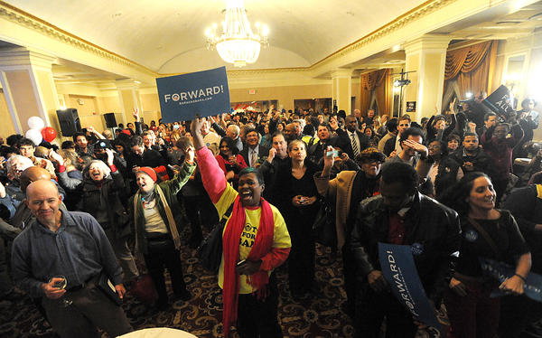 President Obama supporters, volunteers and community leaders begin to celebrate the President's victory at the Historic Radisson Plaza-Warwick Hotel in Philadelphia on election night, Tuesday.