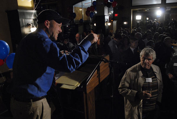 Brian Mattiello, on Andrew Roraback's campaign leadership team, announces polling results. Andrew Roraback, the Republican candidate for Connecticut's 5th Congressional District running against against Democrat Elizabeth Esty, held his post-election party at the Back Stage Cafe in Torrington.