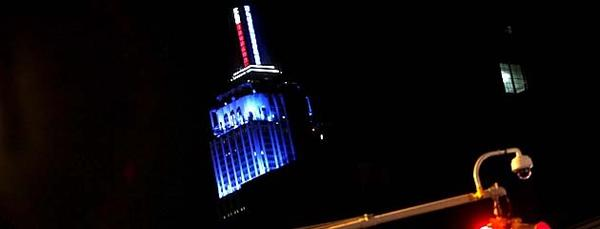 The Empire State Building in New York, after it was announced that President Obama had been reelected, displays an LED-illuminated meter in blue.