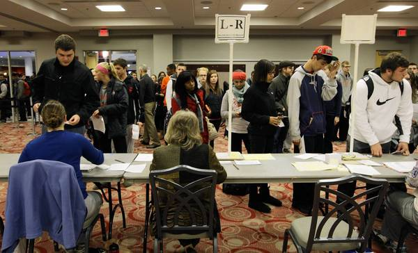 Voters wait in long lines at the polls at Ohio State University in Columbus, Ohio.
