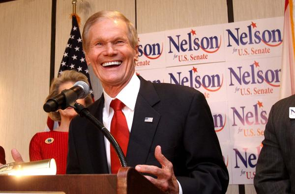 Sen. Bill Nelson celebrates at his campaign party, in Orlando, Fla., Tuesday night, November 6, 2012.   (Joe Burbank/Orlando Sentinel)  newsgate ID #  B582494660Z.1