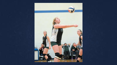 North Star's Ellie Fleegle plays in the first set against Bishop Carroll at Shanksville on Tuesday.