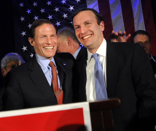 Connecticut's two senators, Richard Blumenthal and Chris Murphy in the Hartford Hilton ballroom after Murphy's victory speech.