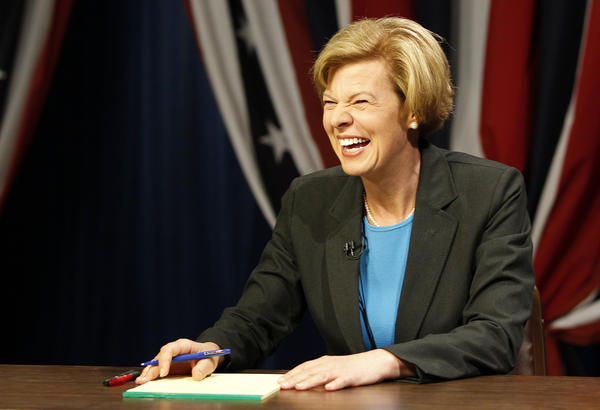Tammy Baldwin lightens the mood before the start of the first senatorial debate at MPTV studios in Milwaukee.