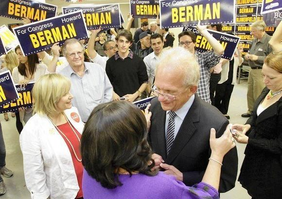 Democratic U.S. Rep. Howard Berman with his wife, Janis, greet supporters at his campaign headquarter in Encino.