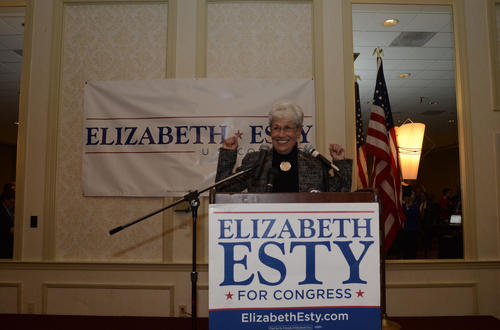 Nancy Wyman whips up the crowd shortly before Elizabeth Esty claims victory in her 5th Congressional District race against Andrew Roraback Tuesday night.