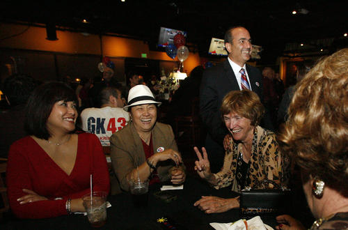 Supporters Arleen Penaflor, from left, Edith Fuentes and Cathy Zappala, second right, are greeted by State Assembly candidate Greg Krikorian on election night, which took place at Noypitz restaurant in Glendale on Tuesday, November 6, 2012.
