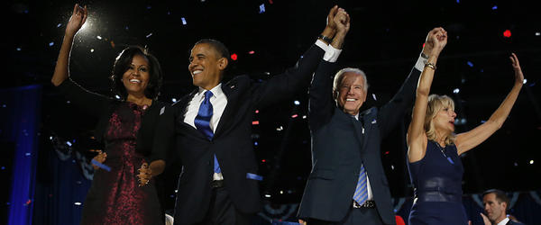 First lady Michelle Obama, President Barack Obama, Vice-President Joe Biden and his wife Jill acknowledge the crowd following Obama's acceptance speech at McCormick Place on election night in Chicago.