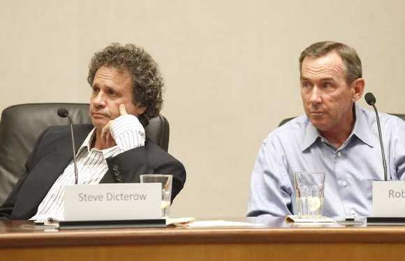 Steve Dicterow, left, and Bob Whalen, seen at a candidate forum earlier this year, are set to win the two open seats on the Laguna Beach City Council.