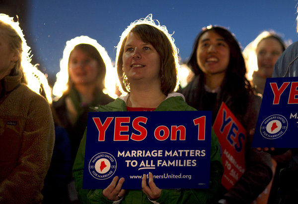 Ashley Gorczyga attends a rally in support of gay marriage in downtown Portland, Maine.