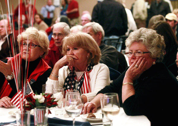 Republicans at a watch party organized by the Albemarle County Republican Committee in Albermarle, Va., listen as Fox News reports on the night's returns.