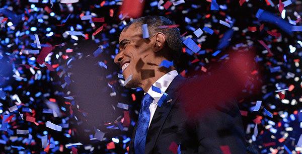 U.S. President Barack Obama celebrates after delivering his acceptance speech in Chicago.