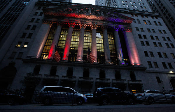 The New York Stock Exchange displays its patriotism.