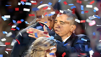 President Barack Obama celebrates his re-election at McCormick Place.