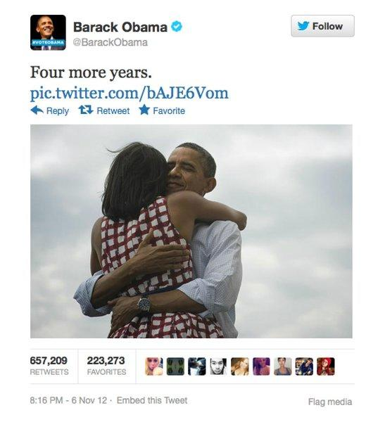 A photo uploaded to President Obama's Twitter account became the most retweeted tweet in the history of the social network Tuesday night.