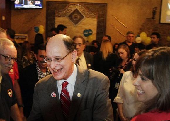 Brad Sherman with supporters Tuesday night.