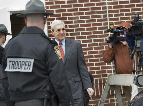 Former Penn State University President Graham Spanier arrives for his arraignment before District Justice William Wenner in Lower Paxton Township, Dauphin County on Wednesday.
