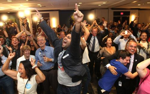 Central Florida Democrats celebrate at their election night party in downtown Orlando, Tuesday night, November 6, 2012.