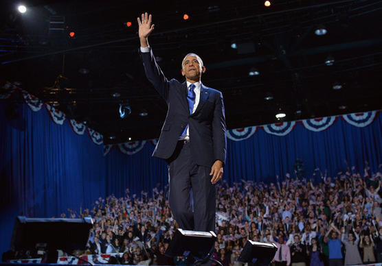 President Obama waves at supporters following his victory speech on election night Nov. 6 in Chicago, Ill.