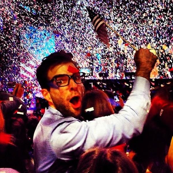 "Zacharty Quinto, who plays Spock in the rebooted ""Star Trek"" film franchise, celebrates at Barack Obama's election night rally at McCormick Place Nov. 6, 2012. ""Going to sleep inspired, fulfilled and called to action,"" Quinto tweeted. ""So proud. So grateful. Nowhere I would rather be. Hope renewed. Faith restored."""