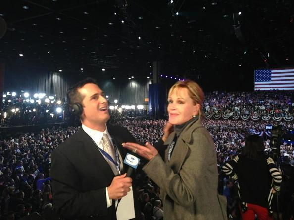 Oscar-nominated actress Melanie Griffith (right) gets interviewed by WGN News reporter Tom Negovan (left) at Obama's rally. Griffith was so excited, she accidentally dropped an F-bomb on live TV during the interview.