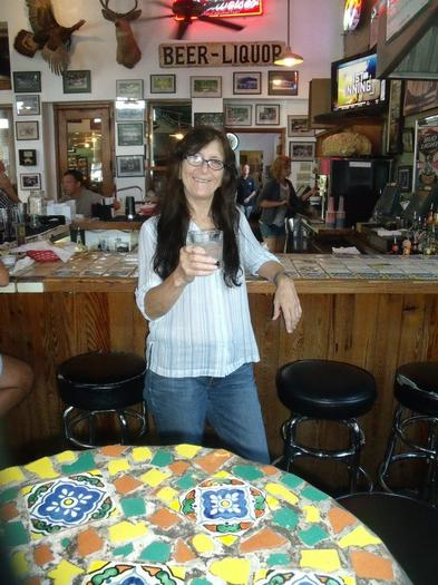 Sueanne Doyer enjoying a beverage in Austin, Texas.