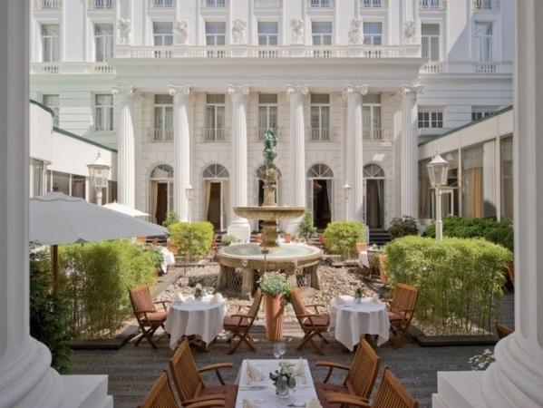 "Along the shores of Lake Alster in Hamburg is the Hotel Atlantic Kempinski, which played host to Pierce Brosnan's hair-raising climb from his suite to the globe on the hotel's roof in ""Tomorrow Never Dies."" The recently renovated hotel offers a private cinema for its guests."