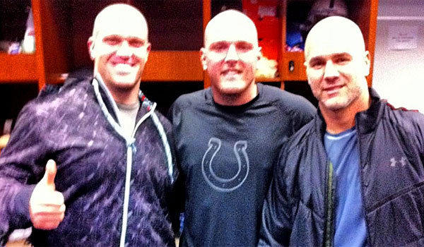 Indianapolis Colts long snapper Matt Overton, left, tweeted this picture of himself with punter Pat McAfee and kicker Adam Vinatieri showing off their new dome tops.
