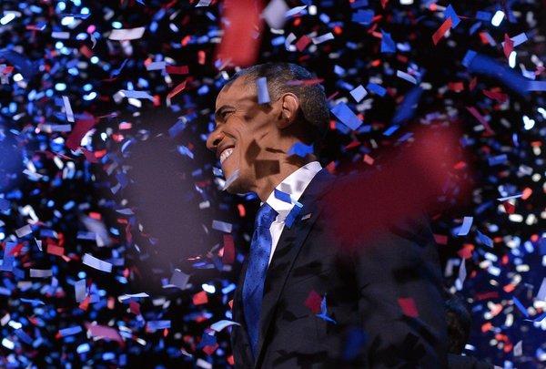 Barack Obama revels in his victory.