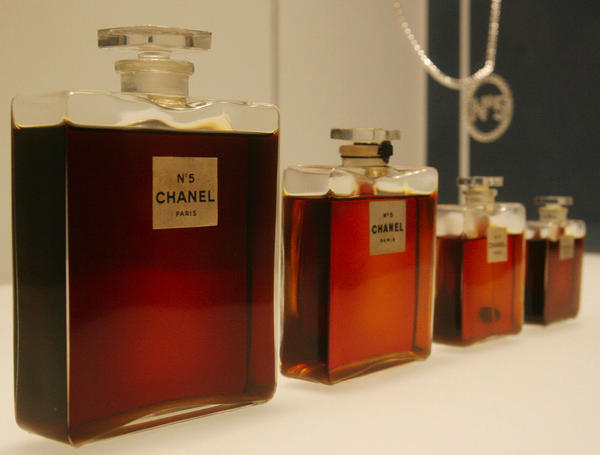 "Original flacons of Chanel No. 5 from 1921, displayed during a preview of ""Chanel"", an exhibition of fashions from the House of Chanel, at the Metropolitan Museum of Art in New York."