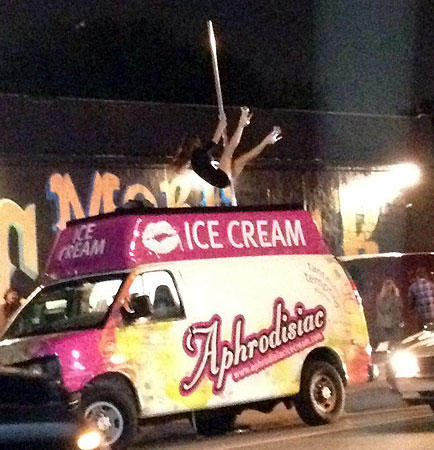Sexy ice cream?  Watch for the Aphrodisiac Ice Cream [Food] Truck coming to a South Florida location near you.  The food truck is the creation of photographer Justin Price and model Jacqueline Suzanne.