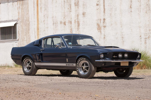 This original, unrestored 1967 Shelby GT500 Fastback is one of the lowest mileage Shelbys in existence. Powered by a 428-cubic-foot V-8 engine with a four-speed transmission and complete documentation. Previously displayed at Shelby headquarters in Las Vegas.