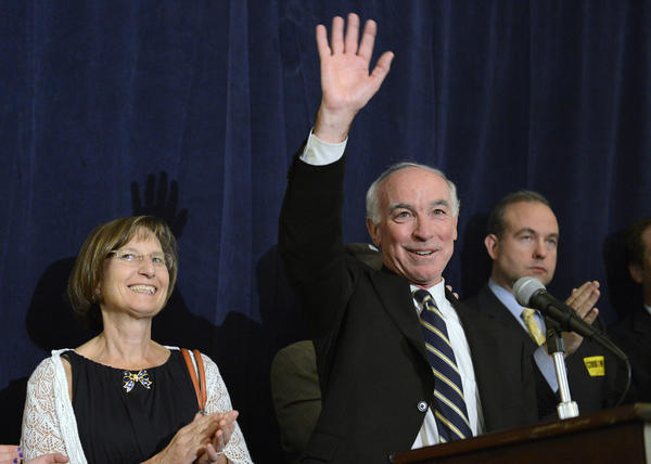 Congressman Joe Courtney celebrates victory in the 2nd Congressional District race with his wife, Audrey, left, additional family members and supporters at the Holiday Inn in Norwich on the night of Tuesday, Nov. 6, 2012.