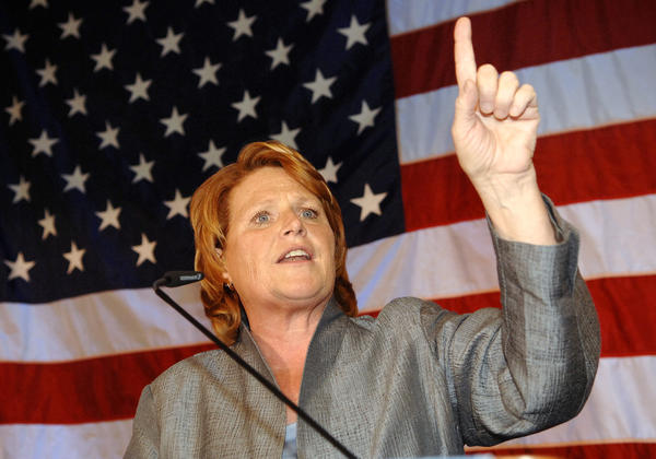Democratic candidate for North Dakota's Senate seat Heidi Heitkamp speaks to supporters in Bismarck, N.D.