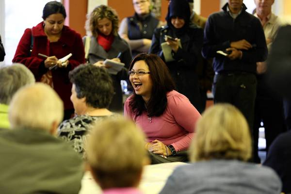 Suburban 8th Congressional District winner Democrat Tammy Duckworth thanks volunteers for their hard work in getting her elected during a visit at her office in Rolling Meadows.