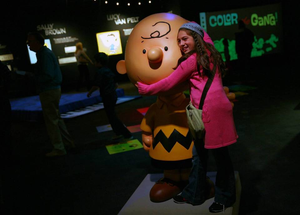 Isabella Perez of East Chicago, In., at the new Charlie Brown exhibit at Museum of Science and Industry.