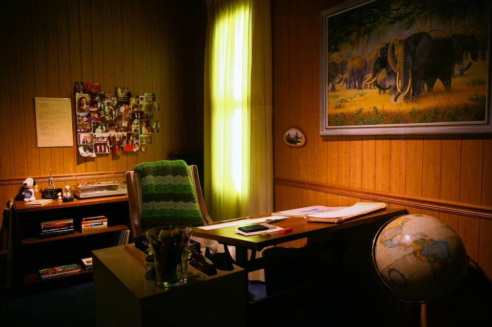 Recreation of Charles Schulz's office in the new Charlie Brown exhibit at Museum of Science and Industry.