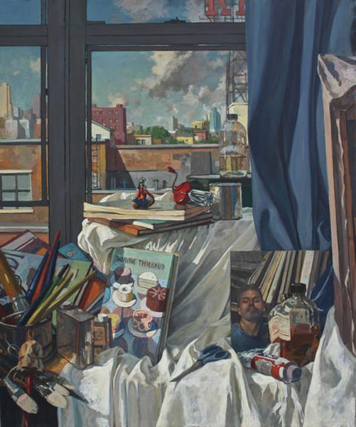 """Brooklyn artist Derek Buckner painted """"Untitled Still Life,"""" described as a masterful compilation of his subject interests."""