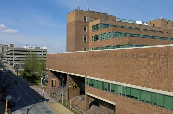 Shown in the foreground is the Baltimore Sun building at 501 N. Calvert St., with the Sun's parking garage in the background.