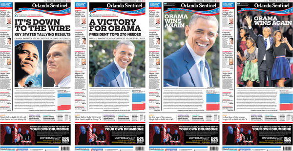 Four different front pages were designed at the Orlando Sentinel on Election Day 2012 as President Barak Obama won reelection