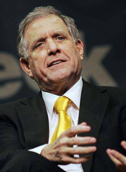"Leslie Moonves, president and chief executive officer of CBS Corp., speaks at a ""Captains of Industry"" event at the 92nd Street Y in New York, U.S., on Thursday, Jan. 19, 2012."