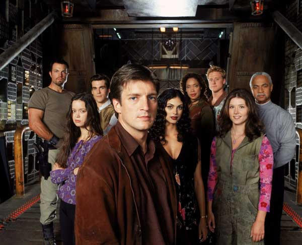 """Firefly: Browncoats Unite"" with Adam Baldwin, left, Summer Glau, Sean Maher, Nathan Fillion, Morena Baccarin, Gina Torres, Alan Tudyk, Jewel Staite, Ron Glass."