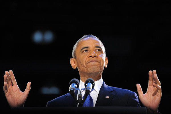 President Obama addresses a crowd of supporters on election night in Chicago.