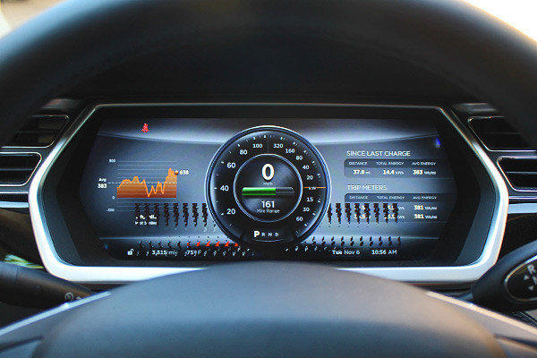 The digital instrument panel on our Tesla Model S test vehicle developed the odd pixelation you see at the bottom half of this photo.